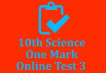10th Science One Mark Test 3