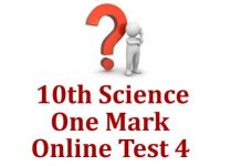 10th Science One Mark Test 4