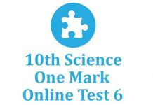 10th Science One Mark Test 6