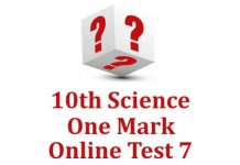 10th Science One Mark Test 7