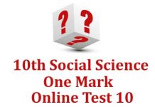 10th Social Science One Mark Test 10