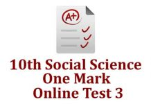 10th Social Science One Mark Test 3